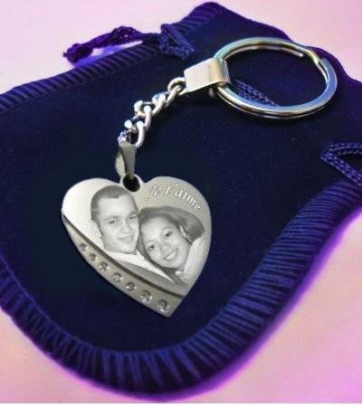 Porte clefs coeur avec strass