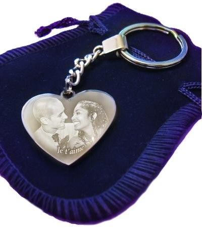 Porte clefs coeur avec une photo.