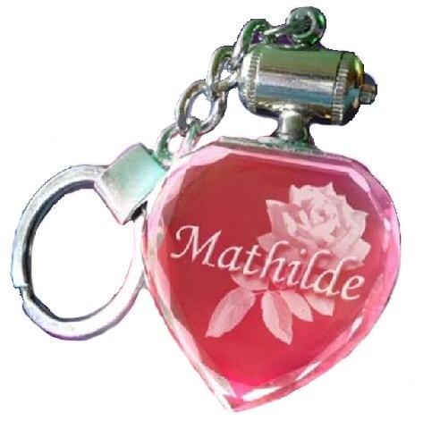 Porte clés coeur lumineux rouge. TEXTE.