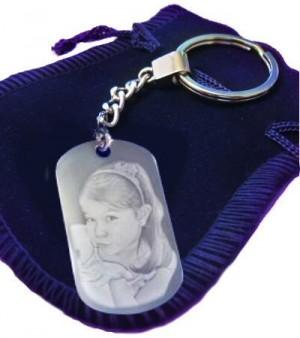 Porte clés rectangle avec une photo.